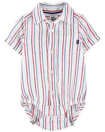 Striped Linen Button-Front Bodysuit
