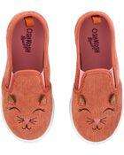 Chaussures à enfiler en velours côtelé avec chat, , hi-res