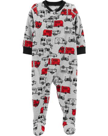1-Piece Cars Fleece Footie PJs