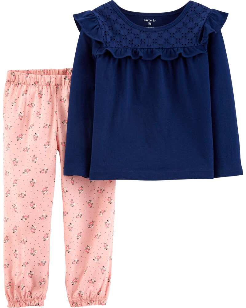 2-Piece Jersey Top & Floral Pant Set, , hi-res