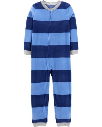 1-Piece Striped Fleece Footless PJs