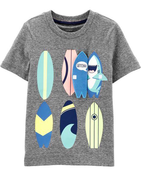 T-shirt en jersey flammé Planche de surf