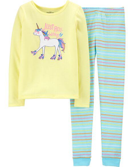 Pyjama 2 pièces ajusté motif licorne sur planche