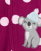 1-Piece Koala Fleece Footie PJs, , hi-res