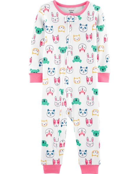 Pyjama 1 pièce sans pieds en coton ajusté motif d'animaux