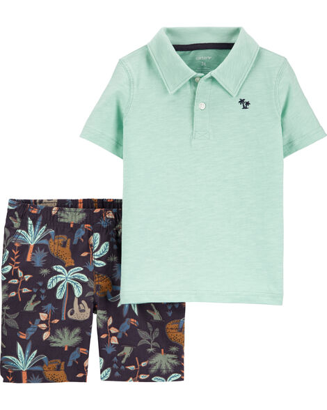 2-Piece Slub Polo & Tropical Short Set
