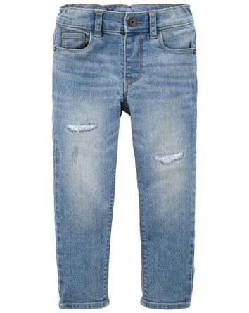 Rip & Repair Knit Denim Jeans — Sli...