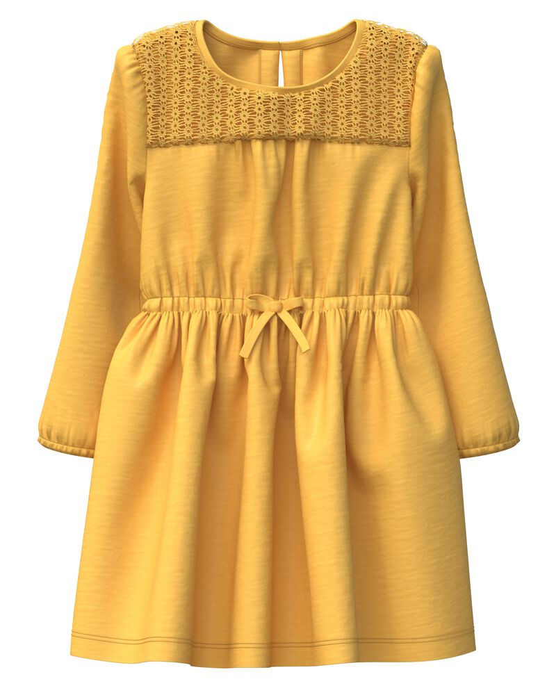 Crocheted Slub Jersey Dress, , hi-res