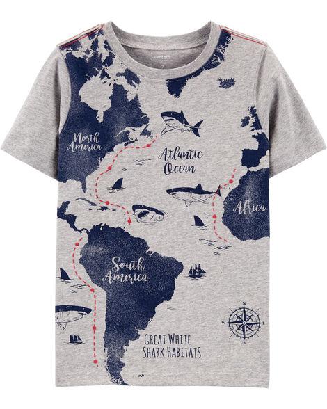 T-shirt en jersey à imprimé de carte avec requins