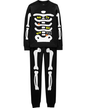 Adult 2-Piece Glow Halloween Skelet...