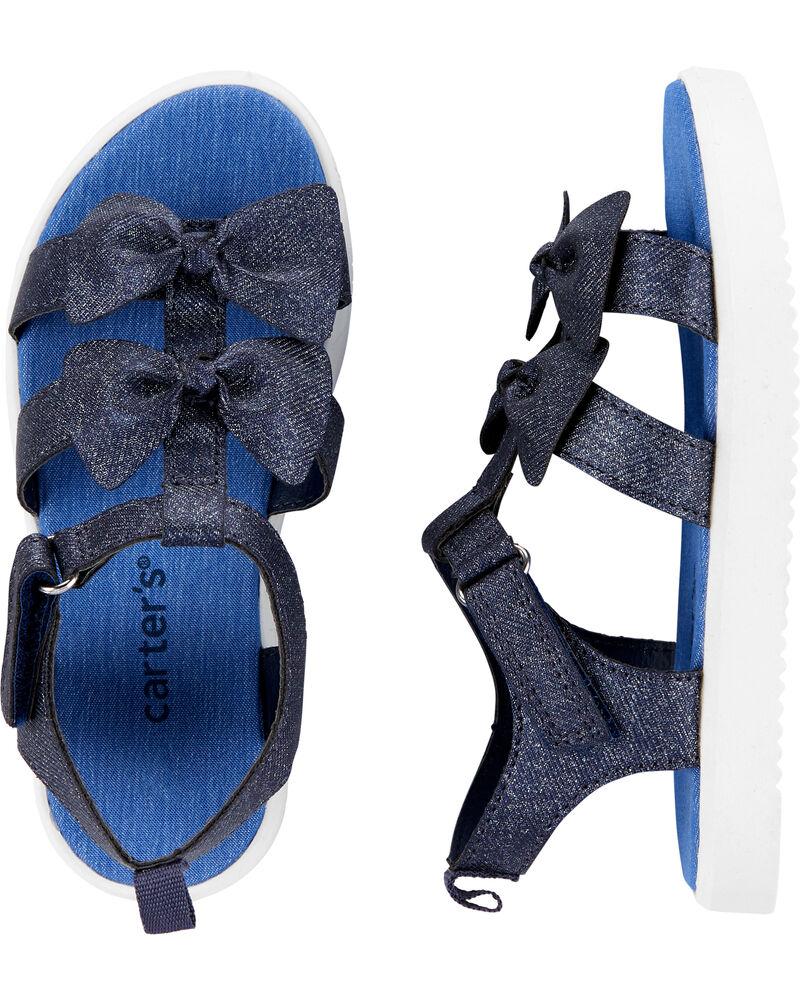 Sandales à talon plateforme en chambray, , hi-res