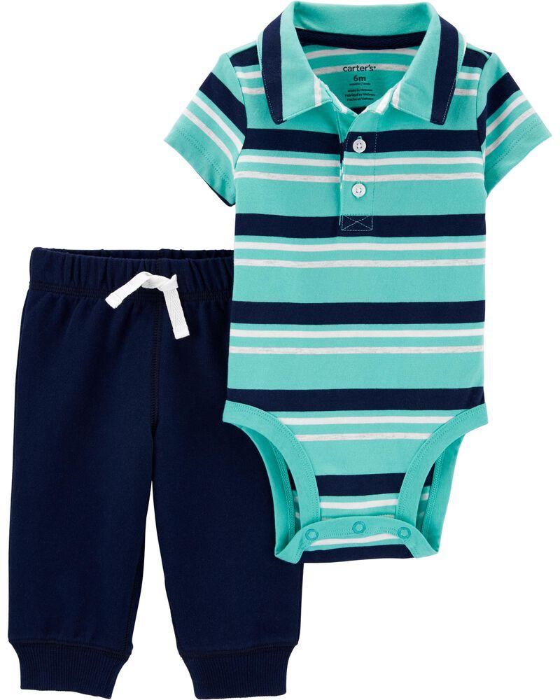 2-Piece Polo Bodysuit Pant Set, , hi-res