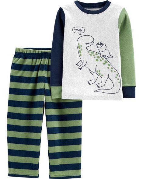 2-Piece Dinosaur Snug Fit Cotton & Fleece PJs