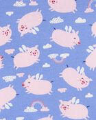 Pyjama 4 pièces en coton ajusté motif cochon, , hi-res