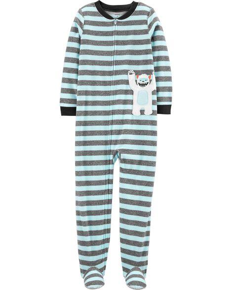 Pyjama 1 pièce à pieds en molleton abominable homme des neiges