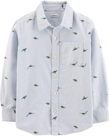 Striped Dinosaur Button-Front Shirt