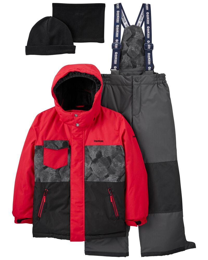 2-Piece Fleece-Lined Snowsuit With Bonus Hat & Neck Warmer, , hi-res