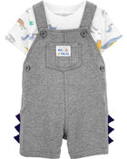 2-Piece Dinosaur Tee & Shortalls Set, , hi-res