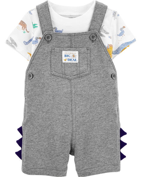 2-Piece Dinosaur Tee & Shortalls Set