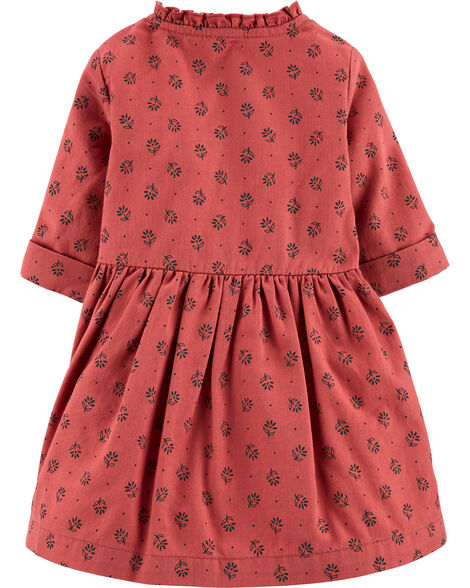 Floral Button-Front Twill Dress