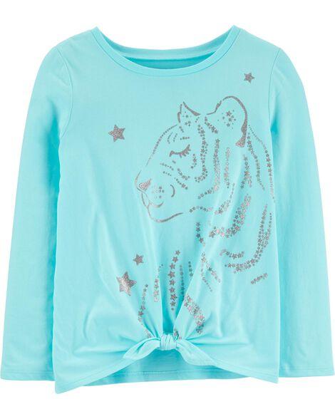 T-shirt en jersey à tigre scintillant et nœud devant