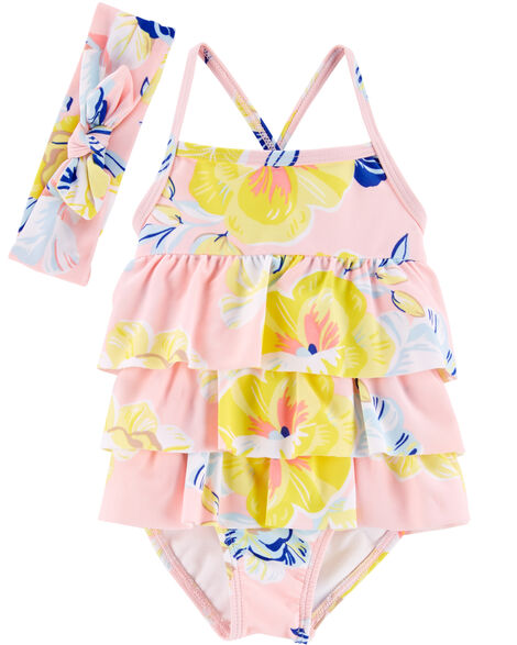 1-Piece Floral Ruffle Swimsuit