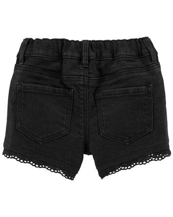Eyelet Trim Knit Denim Shorts