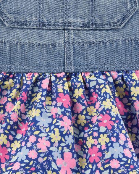 Robe chasuble en denim fleuri