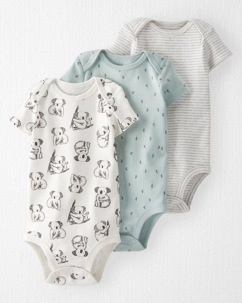 3-Pack Organic Cotton Rib Bodysuits, , hi-res