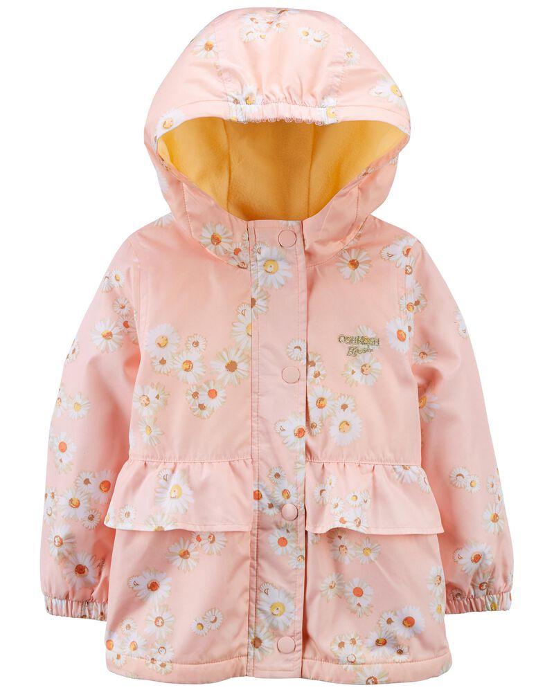 Daisy Print Fleece-Lined Peplum Jacket, , hi-res