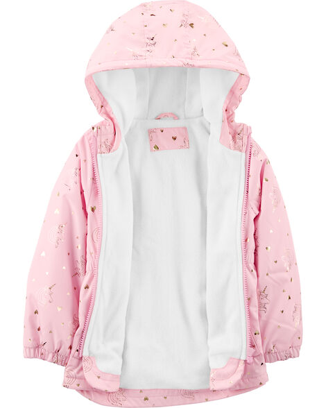 Fleece-Lined Unicorn Foil Print Anorak