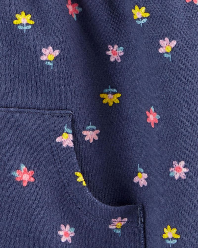 Floral Zip-Up French Terry Hoodie, , hi-res