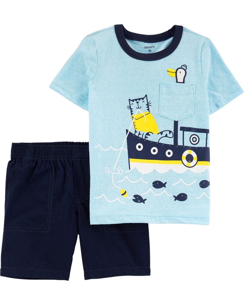 Ensemble 2 pièces t-shirt chiné à bateau et short en popeline, , hi-res