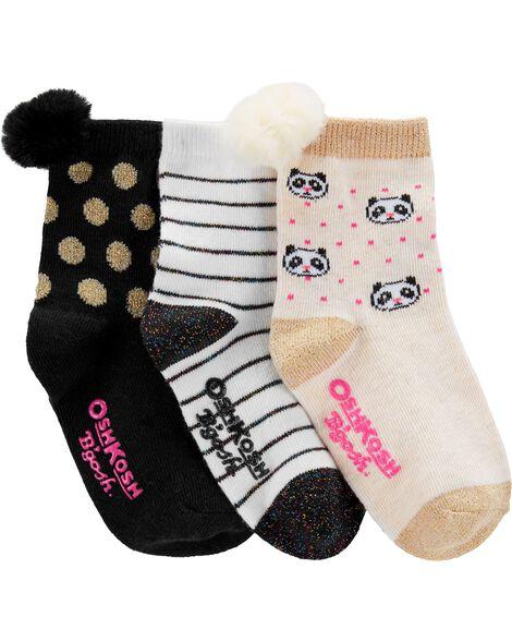 Emballage de 3 paires de chaussettes mi-mollet à pompons