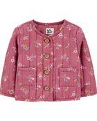 Quilted Floral Jacket, , hi-res