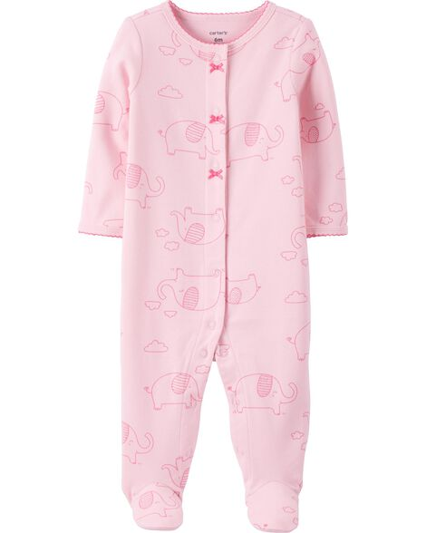 Elephant Snap-Up Cotton Sleep & Play