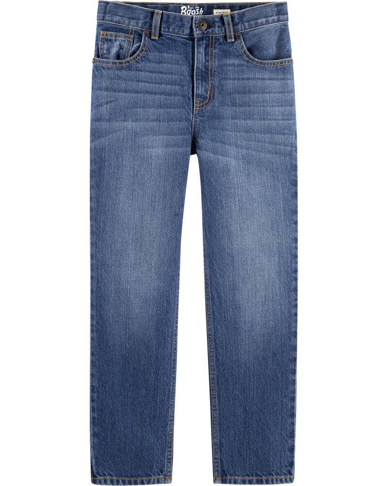 Jeans droit - délavage bleu ancre foncé, , hi-res