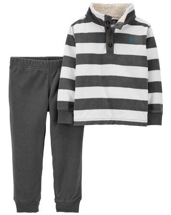 2-Piece Striped Fleece Pullover & P...