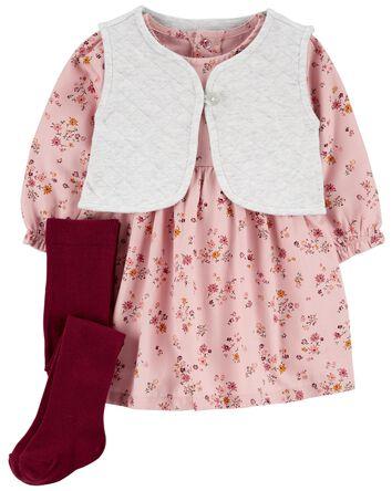 3-Piece Quilted Vest & Dress Set