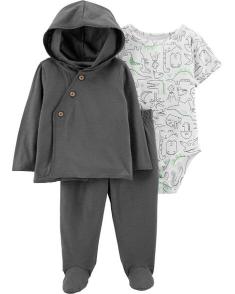 3-Piece Dinosaur Cardigan & Footed Pant Set