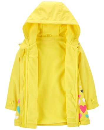 Fleece-Lined Heart Print Rain Jacke...