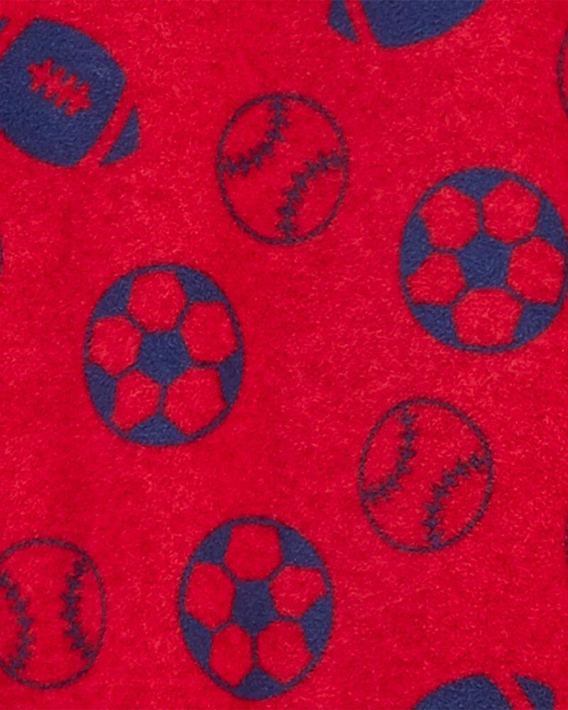 Pyjama 1 pièce à pieds en molleton motif sports, , hi-res