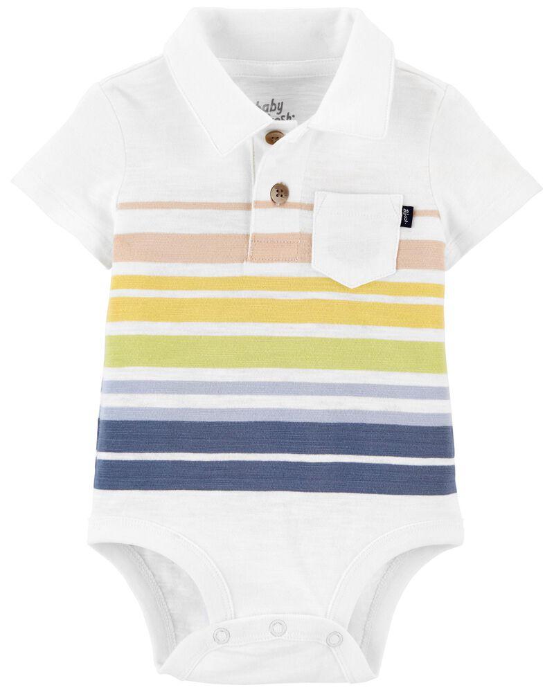Striped Polo Bodysuit, , hi-res