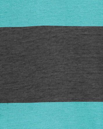 2-Piece Striped Henley Bodysuit Pan...
