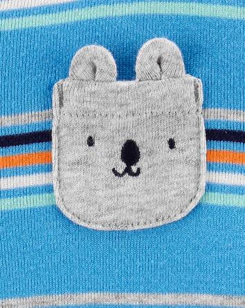 Striped Bear Snap-Up Cotton Sleep &...