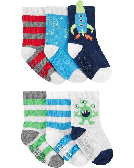 6 Pack Crew Socks