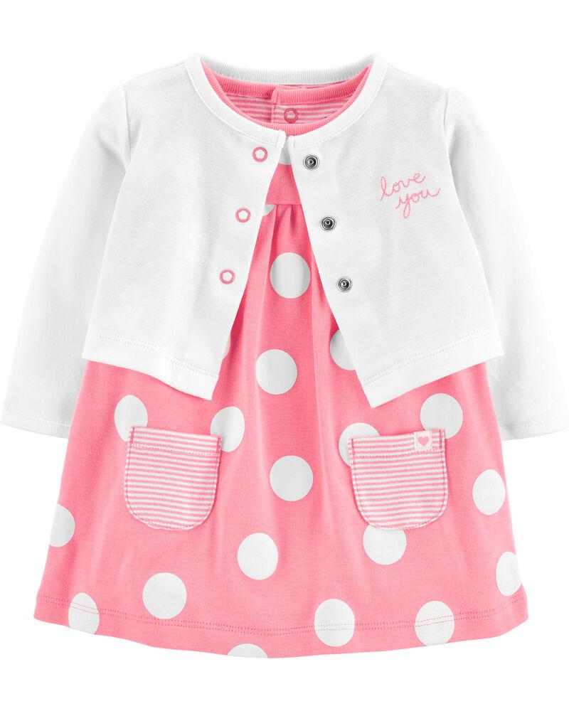 2-Piece Polka Dot Bodysuit Dress & Cardigan Set, , hi-res