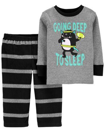 Pyjama 2 pièces en molleton à monst...
