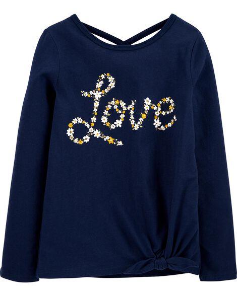 T-shirt en jersey fleuri et nœud devant Love