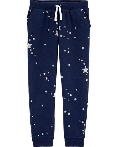 Pantalon molletoné à logo avec étoile scintillante